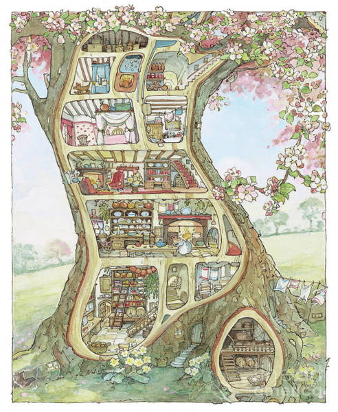 Wall Art - Drawing - Crabapple Cottage by Brambly Hedge