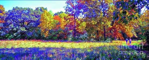 Photograph - Crab Tree Conservation Fall Trail Couple  by Tom Jelen
