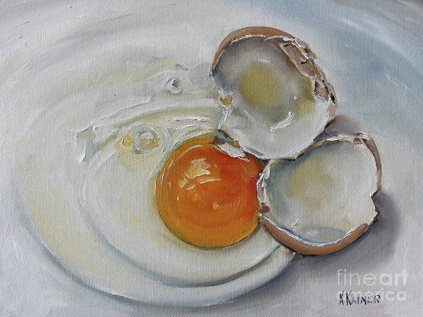 Protein Painting - Cracked Brown Egg by Kristine Kainer