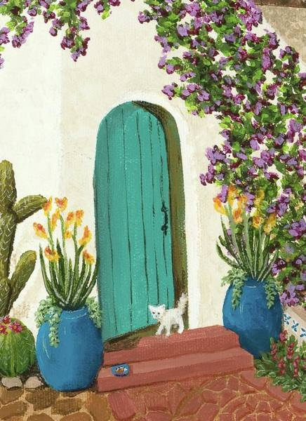 Porch Painting - Cracked Door by Katherine Young-Beck