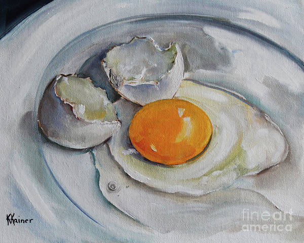 Broken Egg Painting - Cracked Egg On China by Kristine Kainer