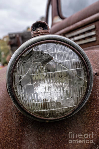 Wall Art - Photograph - Cracked Headlight On An Old Truck by Edward Fielding