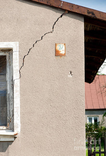 Wall Art - Photograph - Cracked House And Dilapidated Old Building Wall  by Arletta Cwalina