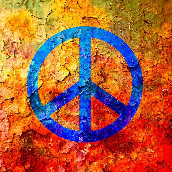 Peace Sign Mixed Media - Cracked Peace by Ally  White