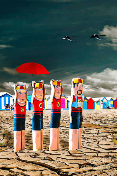 Digital Art - Cracked V - The Life Guards by Chris Armytage