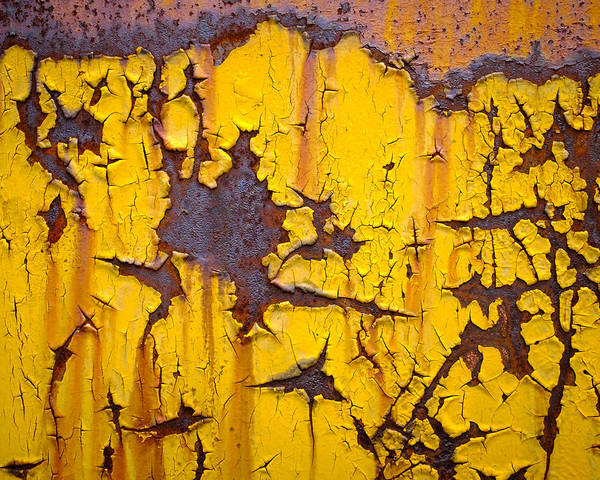 Photograph - Cracked Yellow Paint Over Rust by Chris Bordeleau