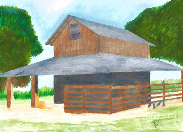Drawing - Cracker Barn - Drawing by D Hackett