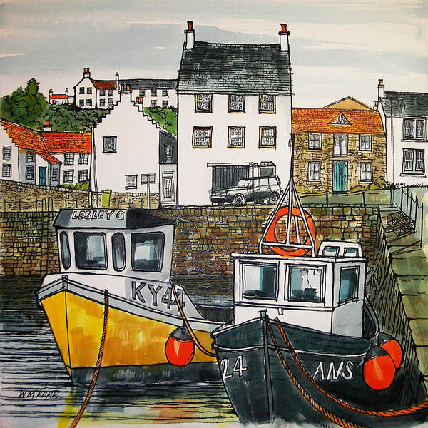 Fife Painting - Crail Harbour, Scotland by William McLean Kerr