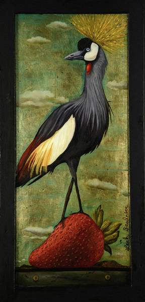 Painting - Crane Om A Strawberry by Leah Saulnier The Painting Maniac