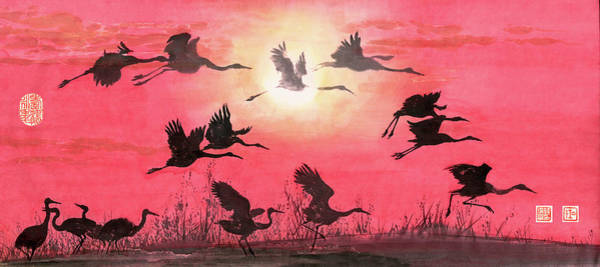 Chinese Brush Painting - Cranes - 10 by River Han