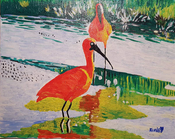 Painting - Cranes At The Marshes by Adekunle Ogunade
