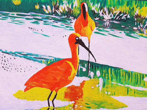 Painting - Cranes At The Marshland by Adekunle Ogunade