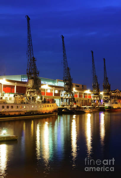 Photograph - Cranes, Bristol Harbour, At Night by Colin Rayner