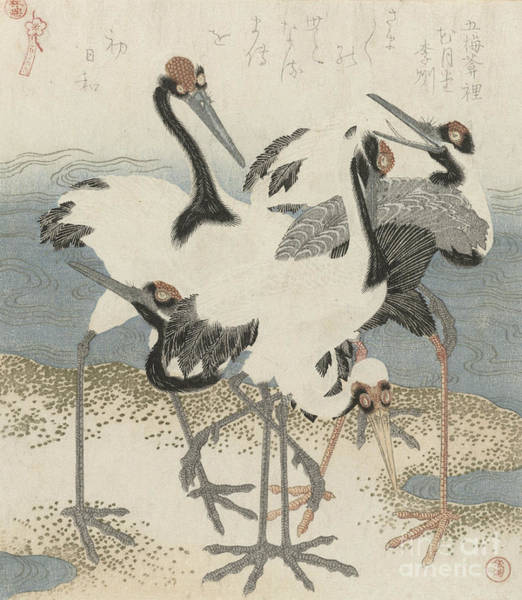 Poetry Painting - Cranes By The Water by Kubo Shunman
