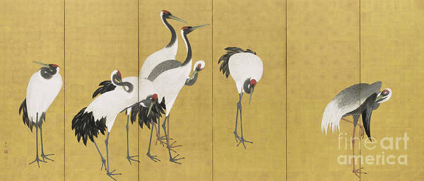 Period Wall Art - Painting - Cranes by Maruyama Okyo