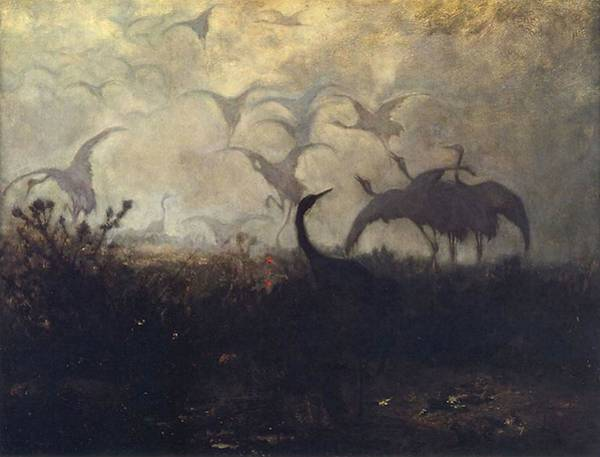 Painting - Cranes Take Off by Jozef Marian Chelmonski