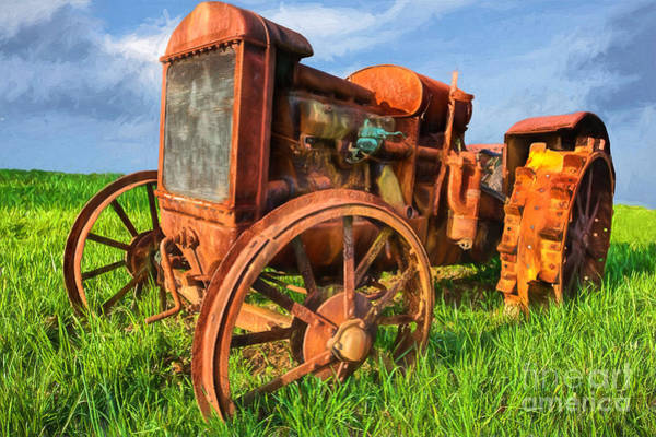 Vintage Tractor Painting - Crank And Plow II by Dan Carmichael