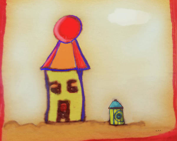 Art Print featuring the digital art Cranky Clown Cabana And Fire Hydrant by Teresa Epps
