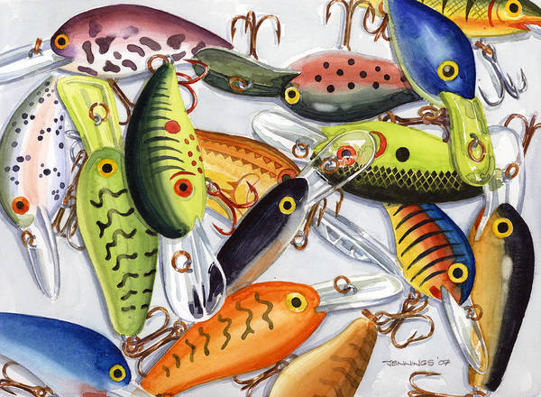Lure Wall Art - Painting - Crankbaits by Mark Jennings