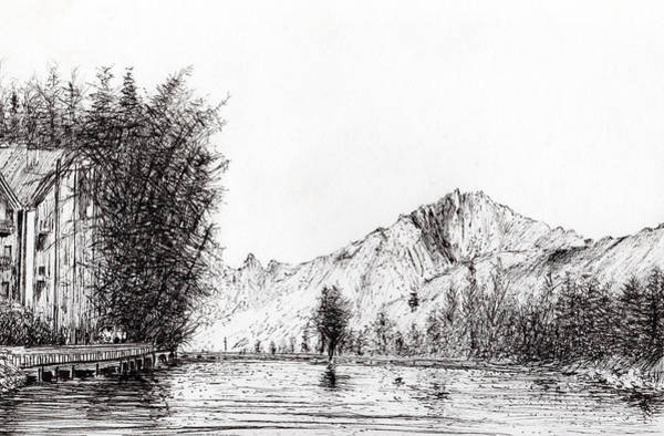 Hotel Drawing - Crans  Switzerland by Vincent Alexander Booth