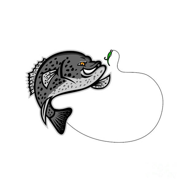 Wall Art - Digital Art - Crappie Jumping For A Bait Mascot by Aloysius Patrimonio