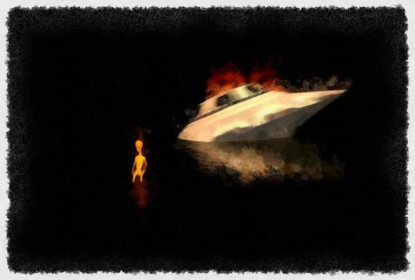 Area 51 Wall Art - Painting - Crashed Alien Ship by Esoterica Art Agency