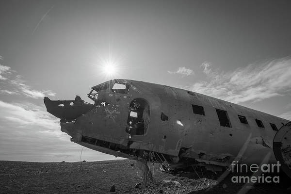 Wall Art - Photograph - Crashed Dc 3 Plane In Iceland Bw by Michael Ver Sprill