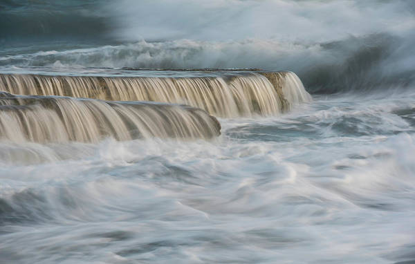 Outdoor Wall Art - Photograph - Crashing Sea Waves And Small Waterfalls by Michalakis Ppalis