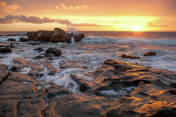 Photograph - Crashing Surf At Sunset by Cliff Wassmann
