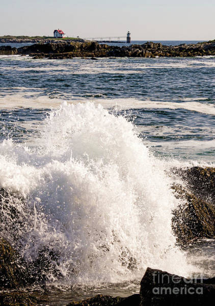 Photograph - Crashing Wave And Ram Island Light, East Boothbay, Maine  -13012 by John Bald