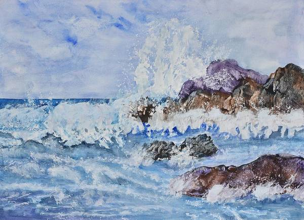 Oceanscape Painting - Crashing Wave IIi by Linda Brody