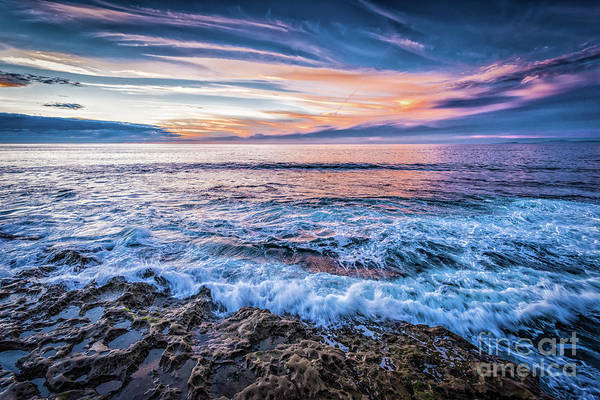 Photograph - Crashing Waves At Sunset In La Jolla by David Levin