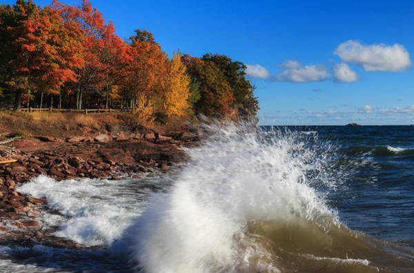 Photograph - Crashing Waves In Autumn by Rachel Cohen