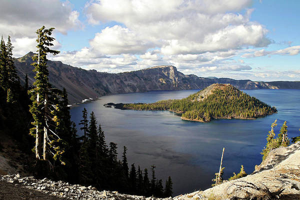 Glossy Photograph - Crater Lake - Intense Blue Waters And Spectacular Views by Christine Till