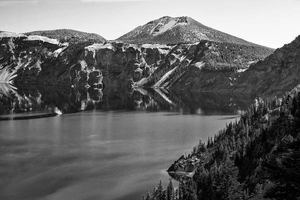 Photograph - Crater Lake 5 Black And White by Frank Wilson