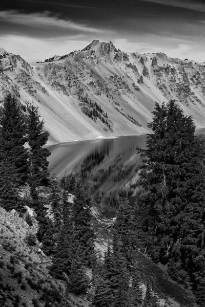 Photograph - Crater Lake 6 Black And White by Frank Wilson
