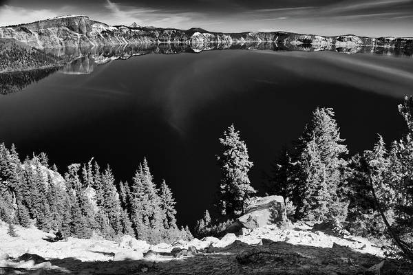 Photograph - Crater Lake 7 Black And White by Frank Wilson
