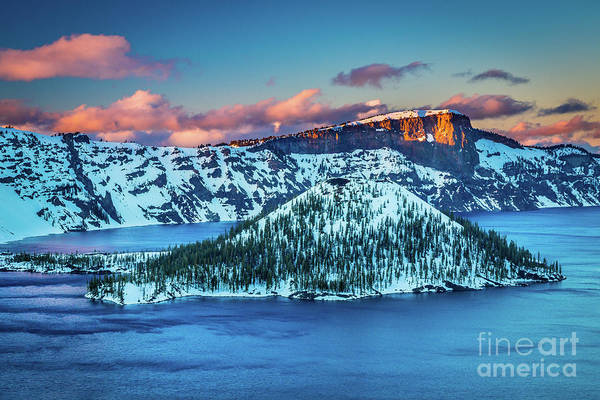 Volcanic Craters Photograph - Crater Lake Dusk by Inge Johnsson