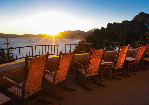 Photograph - Crater Lake Lodge Porch Sunrise by Scott McGuire
