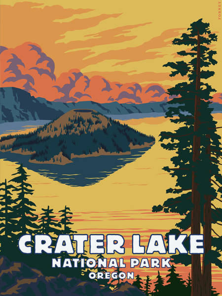Hiking Digital Art - Crater Lake National Park At Sunset by Steve Forney