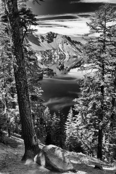 Photograph - Crater Lake Phantom Ship Island In Bw by Frank Wilson