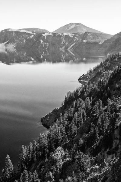 Photograph - Crater Lake Rim In Bw by Frank Wilson
