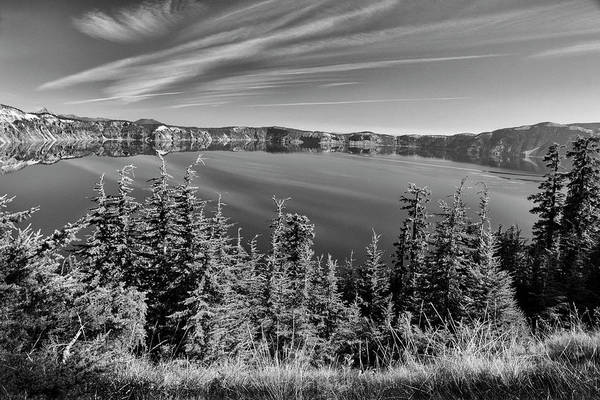 Photograph - Crater Lake Rim Reflections In Bw by Frank Wilson