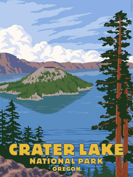 Hiking Digital Art - Crater Lake by Steve Forney