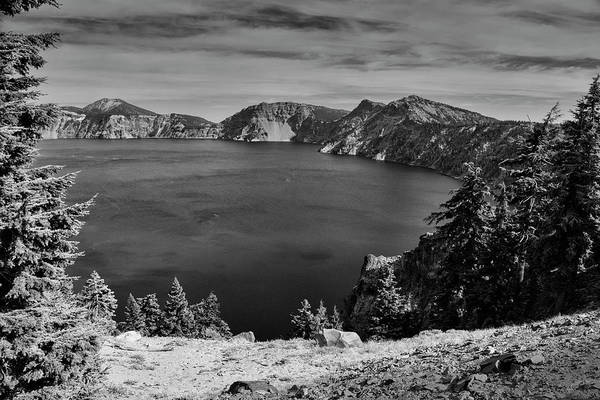 Wall Art - Photograph - Crater Lake View In Bw by Frank Wilson