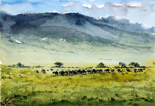 Savannah Painting - Crater Life by James Nyika