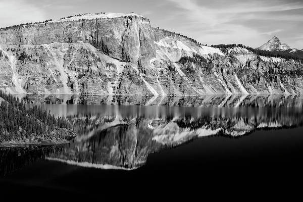 Photograph - Crater Wall At Crater Lake In Bw by Frank Wilson