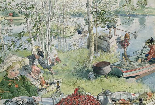 Riverbank Painting - Crayfishing by Carl Larsson