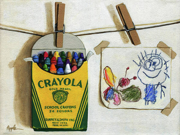 Wall Art - Painting - Box Of Crayons And Child's Drawing Realistic Still Life Painting by Linda Apple