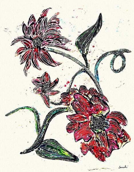 Garden Wall Drawing - Crayon Flowers by Sarah Loft